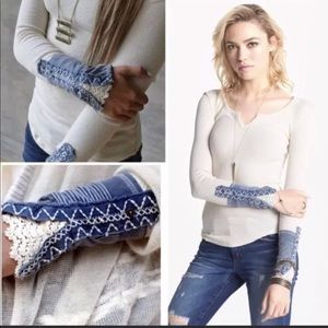 FREE PEOPLE KYOTO CUFF Thermal Henley White Blue